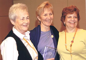 Colleagues, Eugenie Newton (left) & Marjeanne Estes, celebrate with Carole at the 2008 AMTA National Teacher of the Year Ceremony.